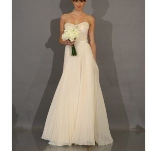 Ivory Pleated Chiffon Strapless Gown with Beaded
